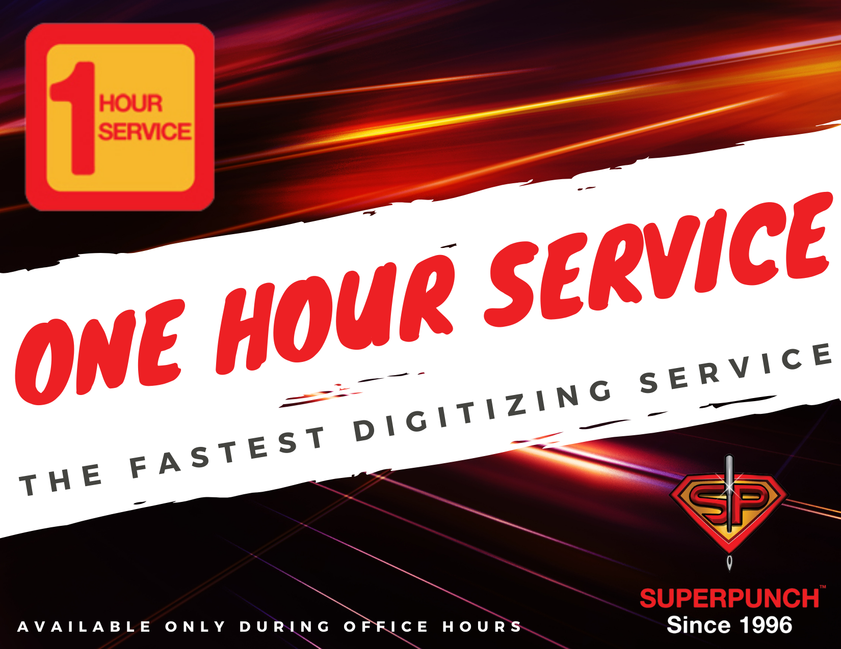one hour fast digitizing embroidery logo service